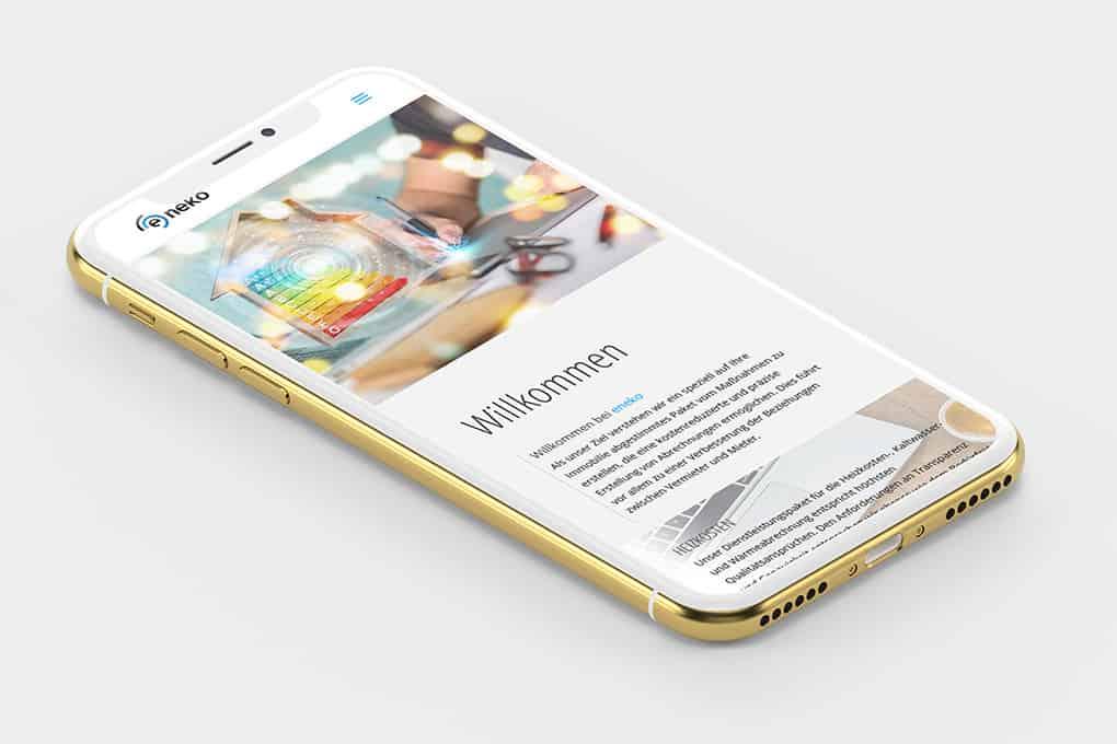 Webseite e-neko auf Smartphone