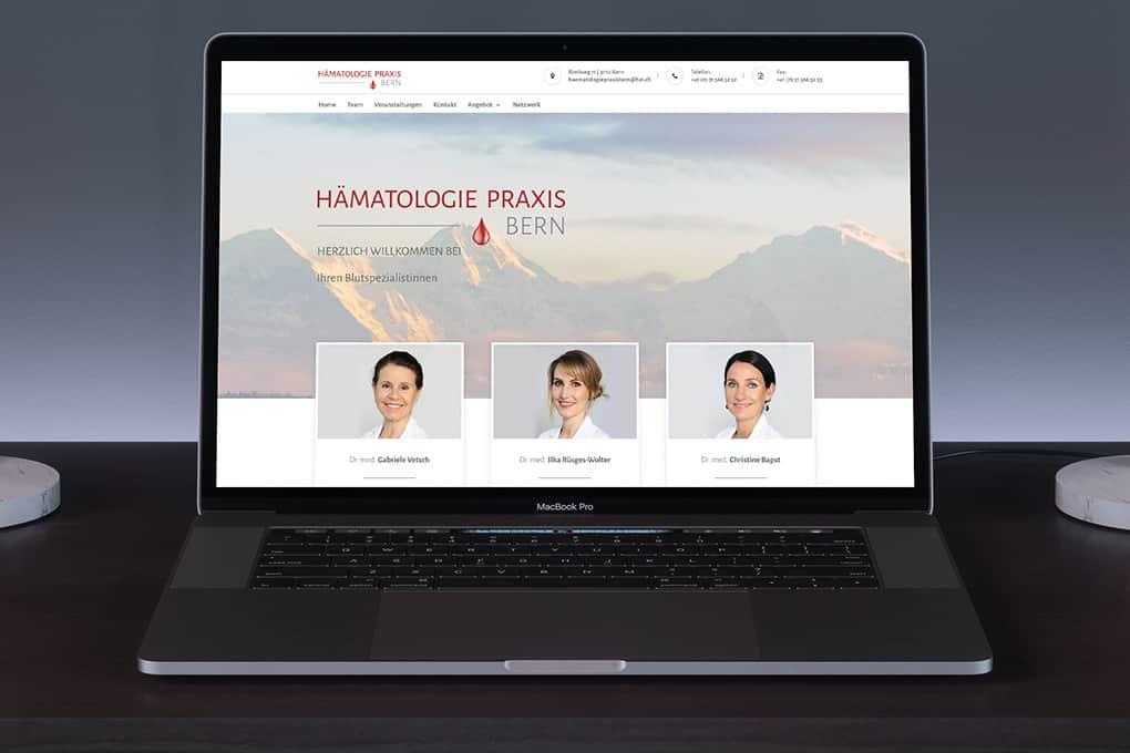Hämatologie Webseite auf Desktop-Rechner