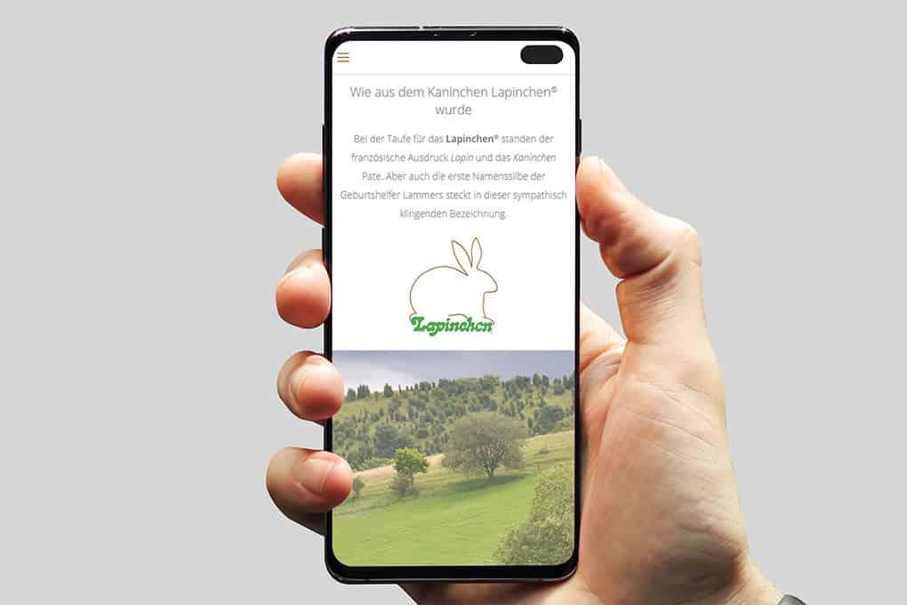 Lapinchen Webseite auf Handy