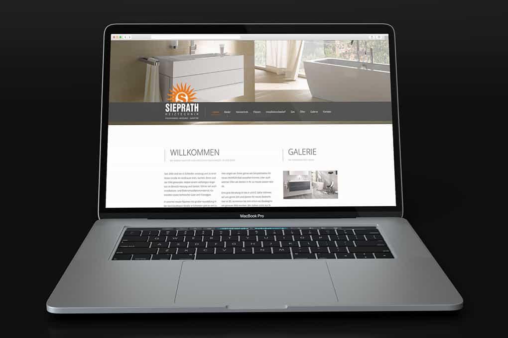 Webseite Sieprath auf Notebook