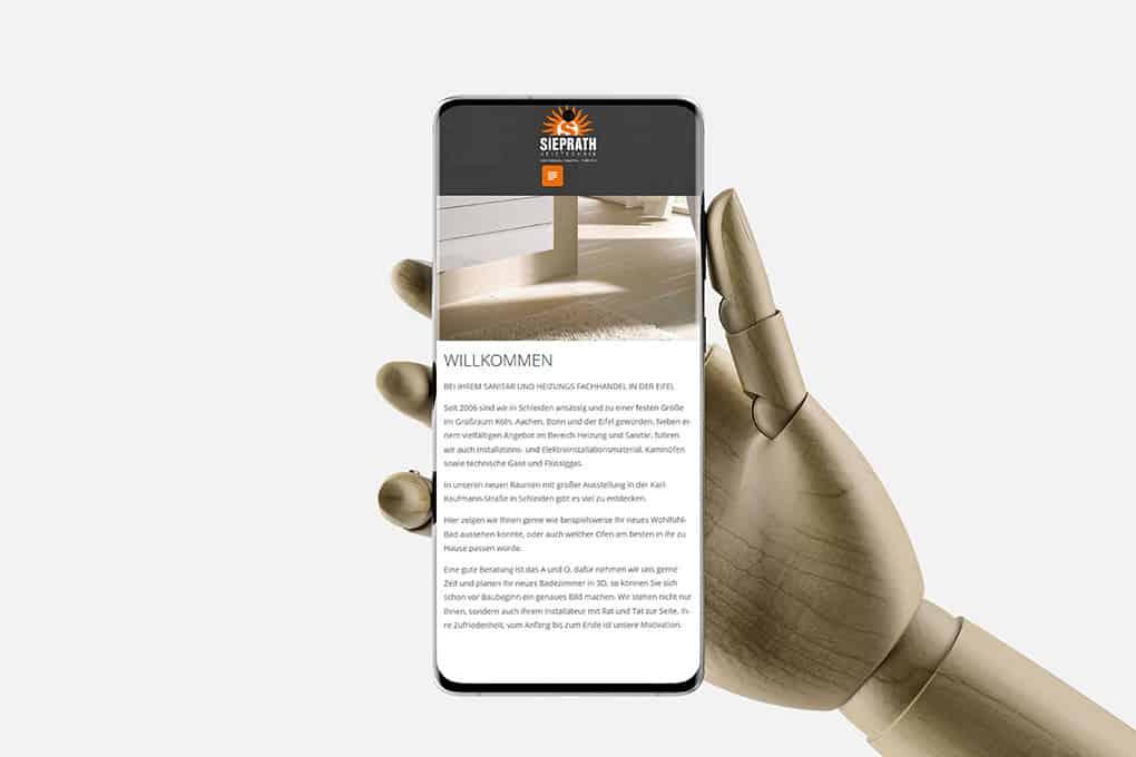 Homepage Sieprath HT auf Smartphone